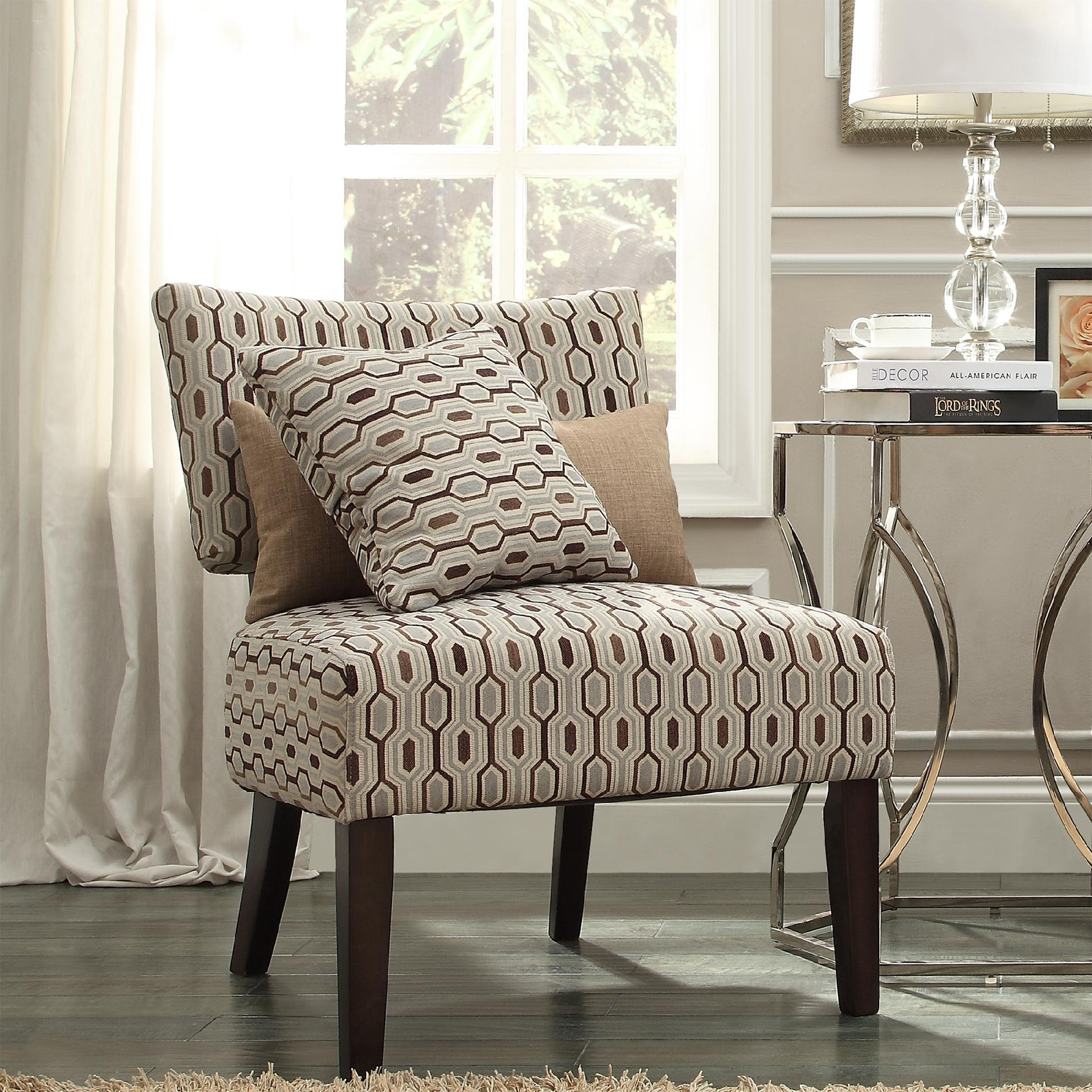 Armless Accent Chairs Oxford Creek Transitional Elliott Mocha Seafoam Honeycomb