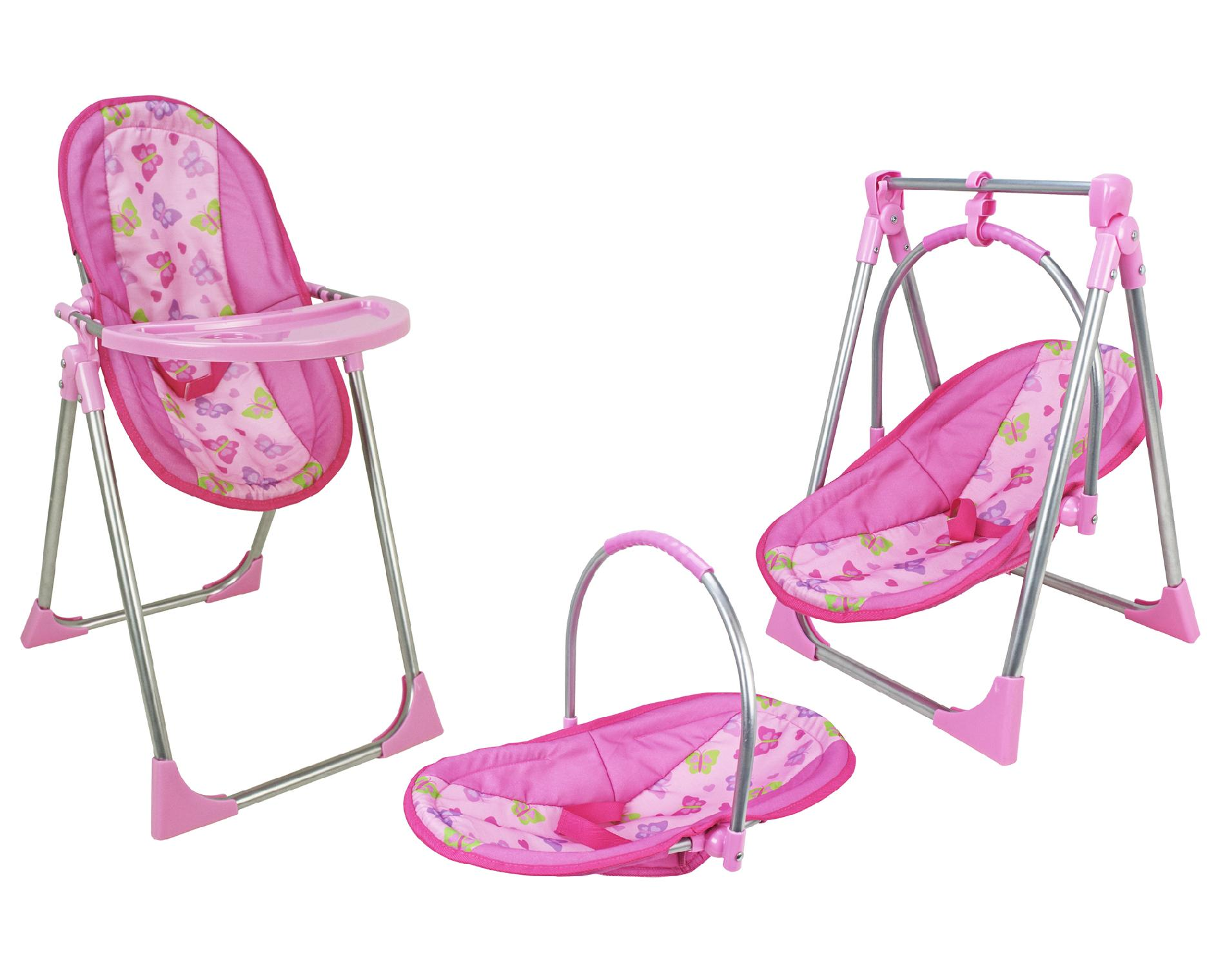 baby toy high chair set boat captain chairs 3 in 1 butterfly print doll toys and games dolls