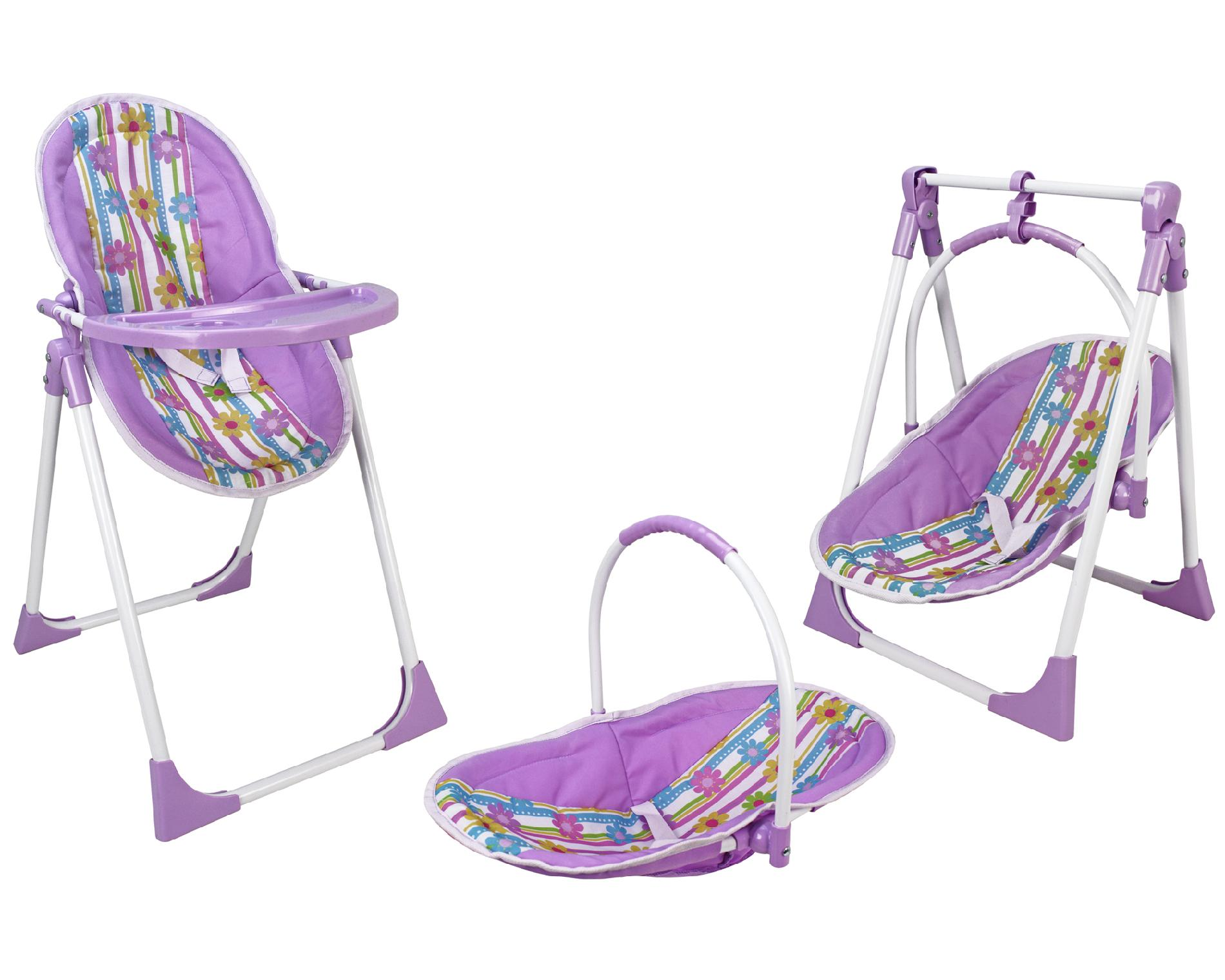 baby toy high chair set gmc yukon captains chairs leva 3 in 1 floral print doll toys games dolls accessories