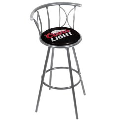 Coors Light Chair Office Arm Slipcovers Weatherproof Padded Outdoor Bar Stool Silver