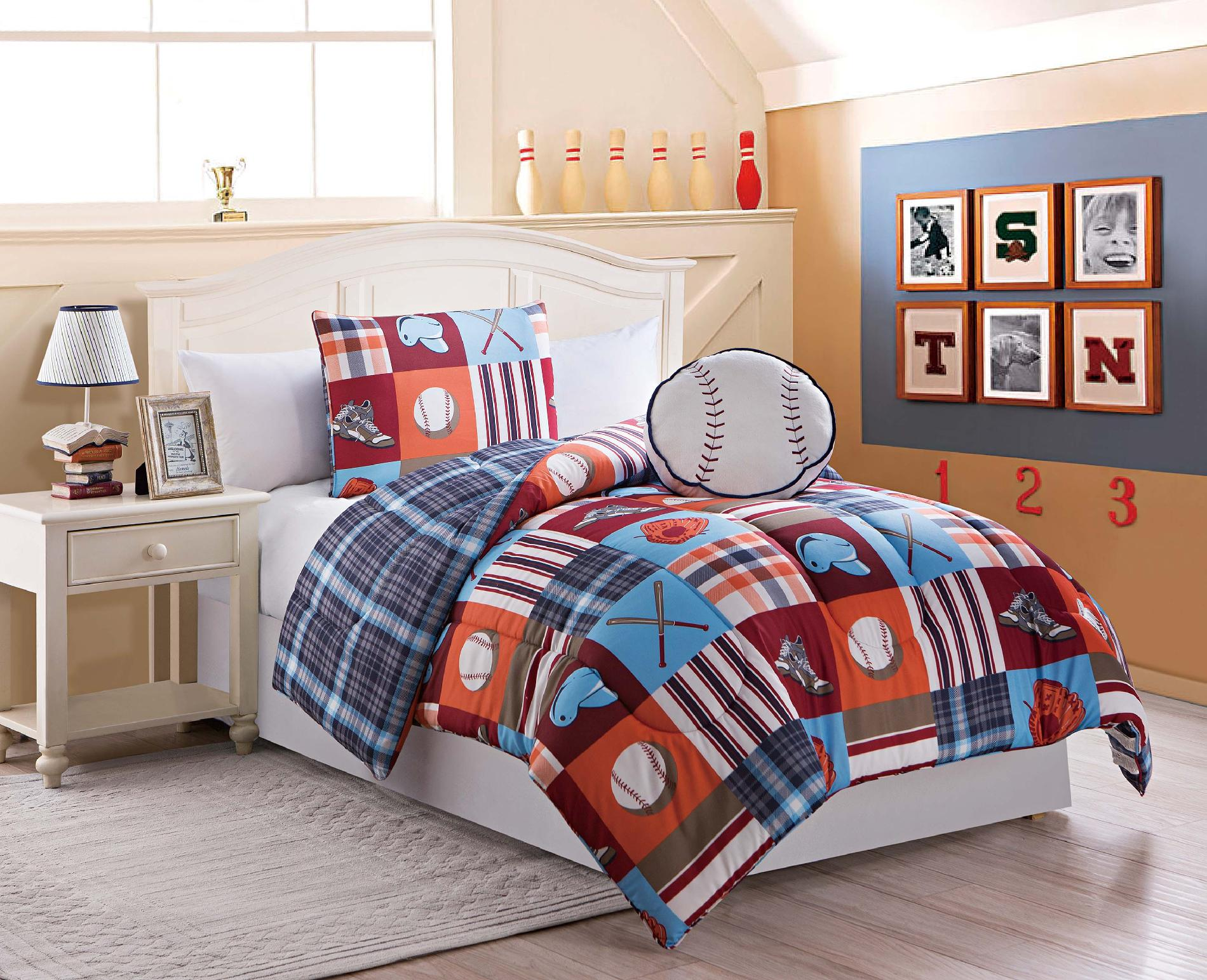 Boys Twin Size 3 Pc Reversible Baseball Comforter Set With Sham Pillow 416