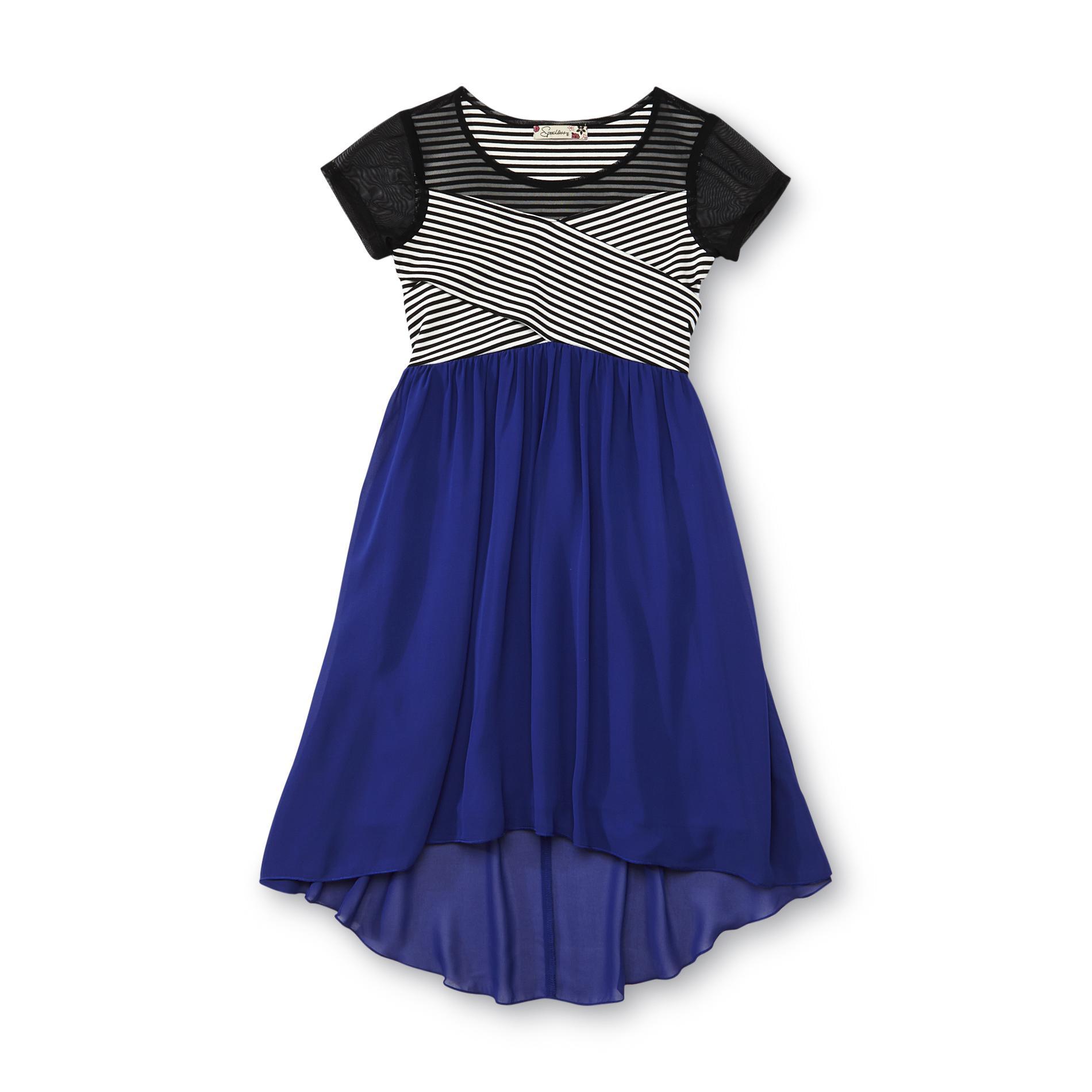 Speechless Girl' Cross-bodice Casual Dress - Striped