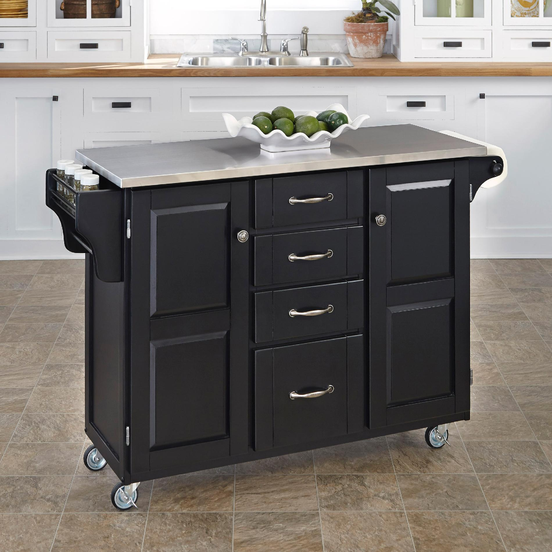 home styles kitchen cart recessed led lights for create a large black finish with stainless steel top