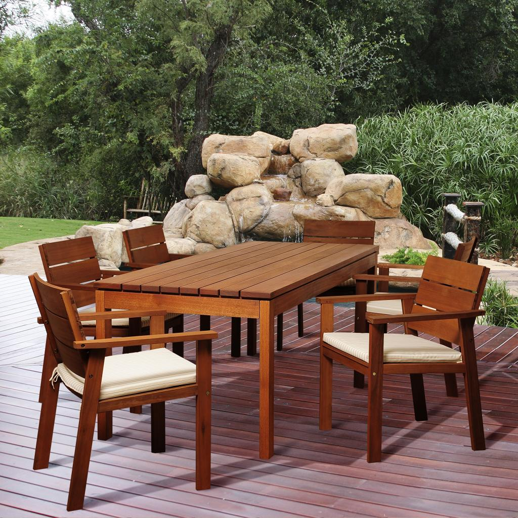Commerce 7 Piece Eucalyptus Rectangular Patio