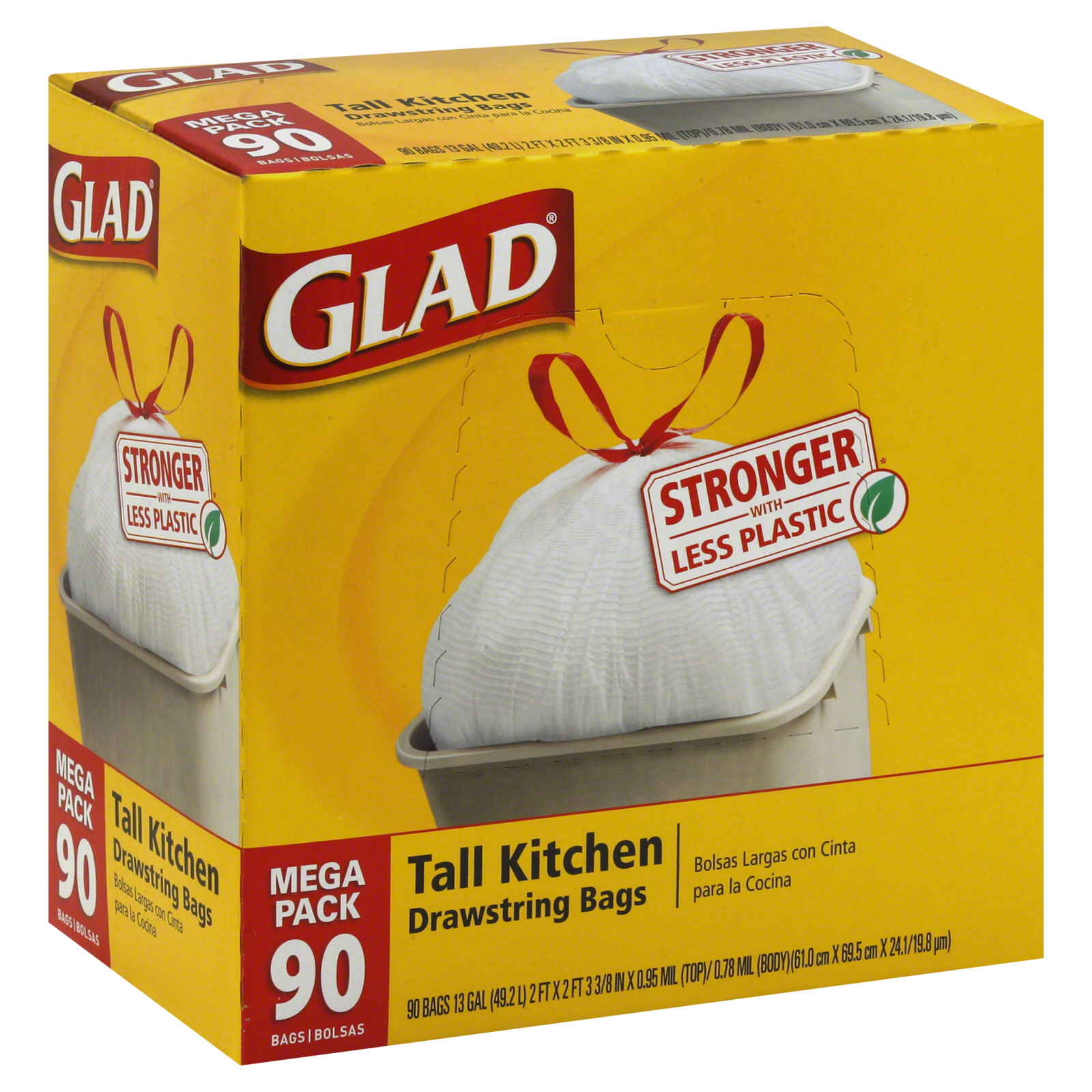 glad tall kitchen drawstring trash bags recessed lighting 13 gal 90 pack