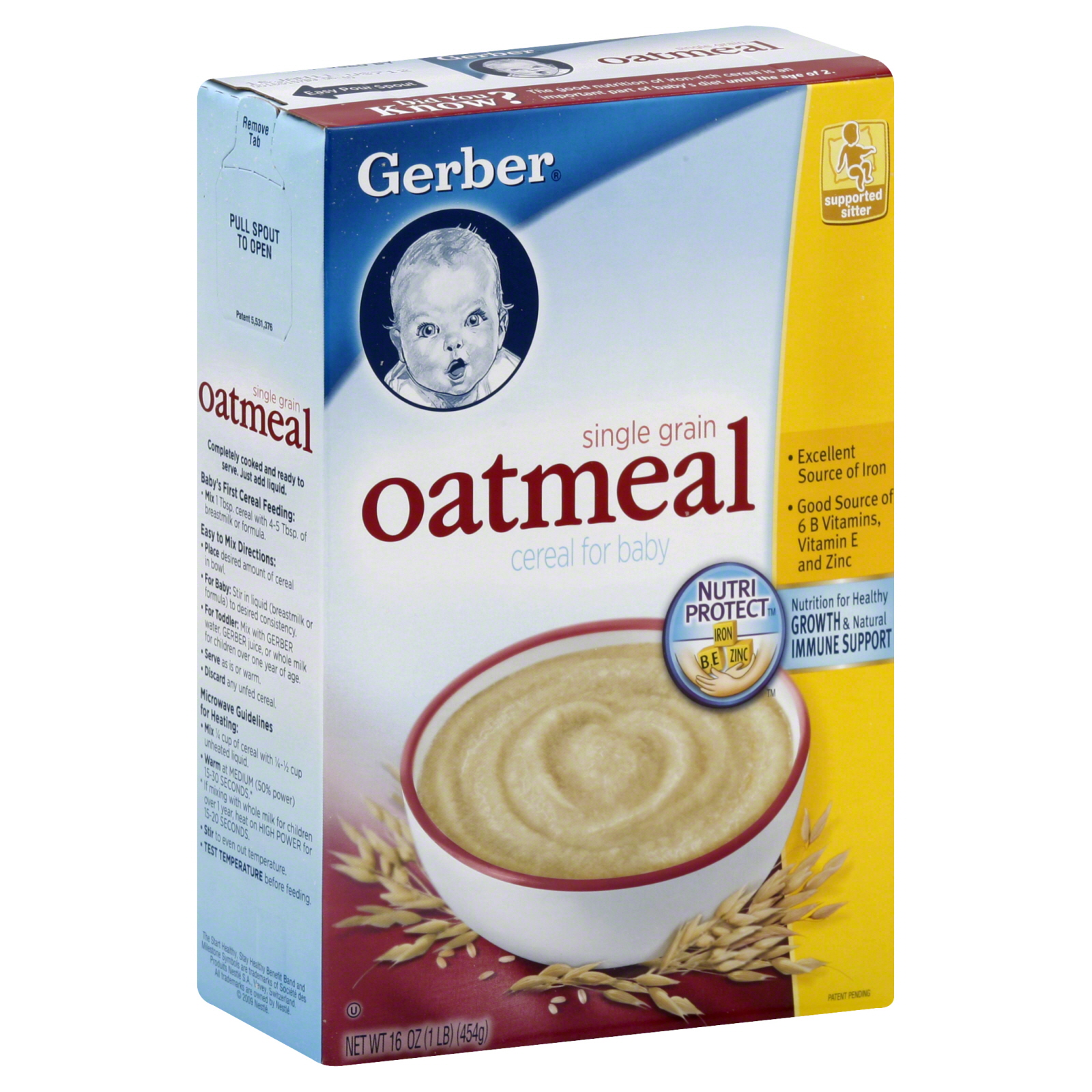 Gerber Baby Cereal Oatmeal Single Grain 16 oz