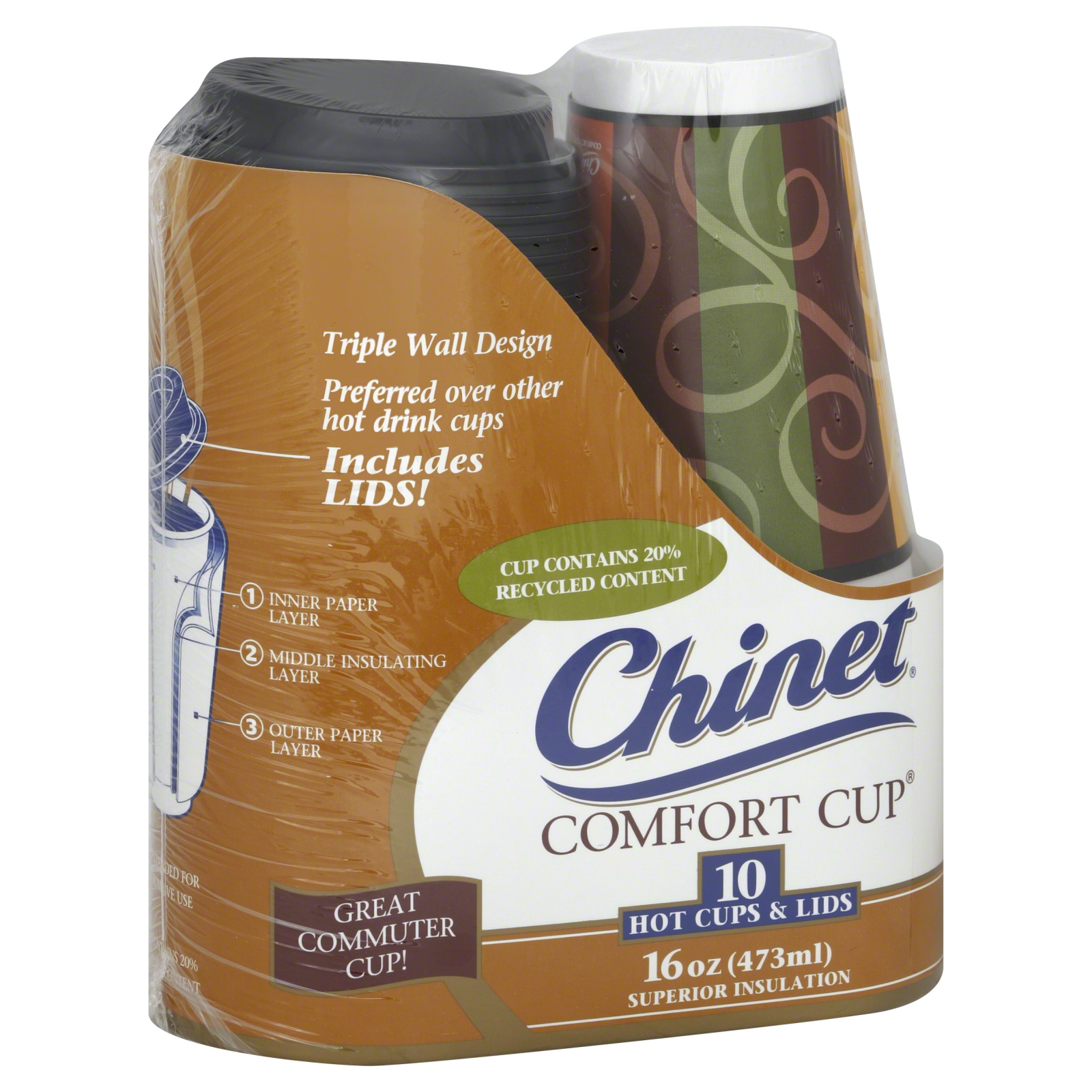 Chinet Comfort Cup Hot Cups & Lids 16 Oz Superior Insulation 10 - Food Grocery Paper