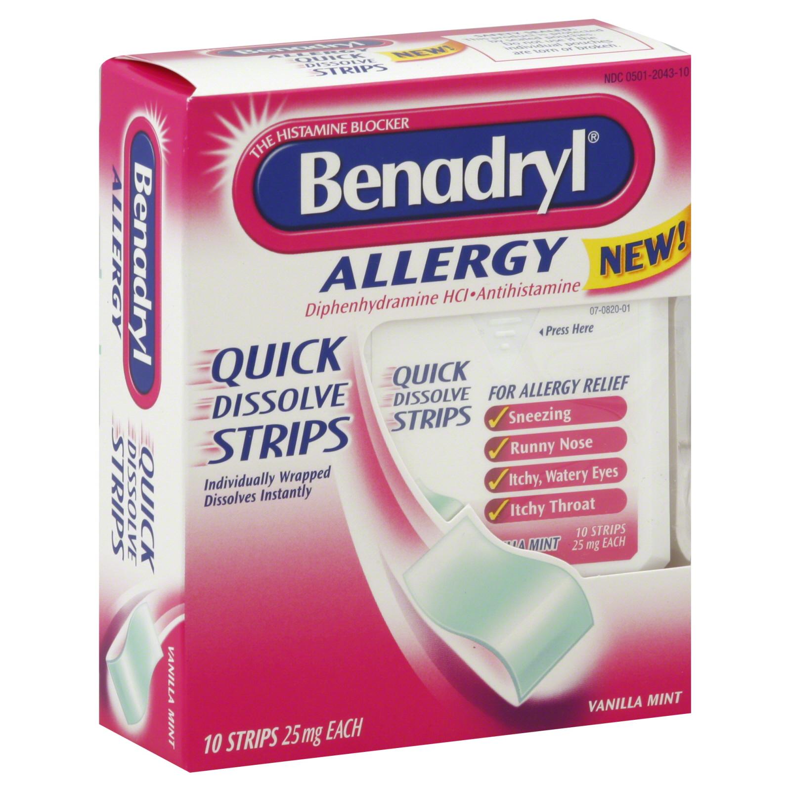 Benadryl Allergy 25 mg Quick Dissolve Strips Vanilla ...