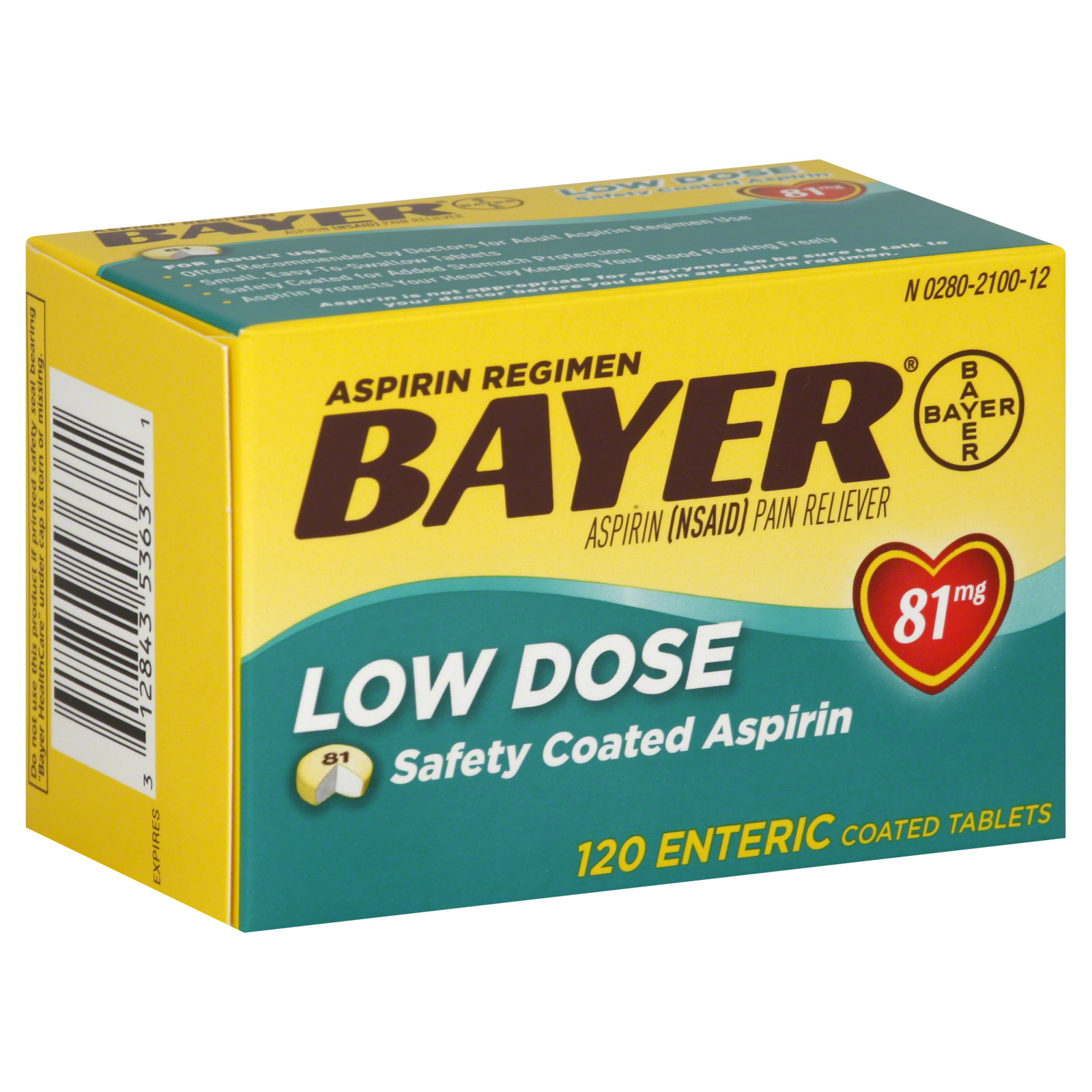 Bayer Aspirin Low Dose 81 mg Enteric Coated Tablets ...