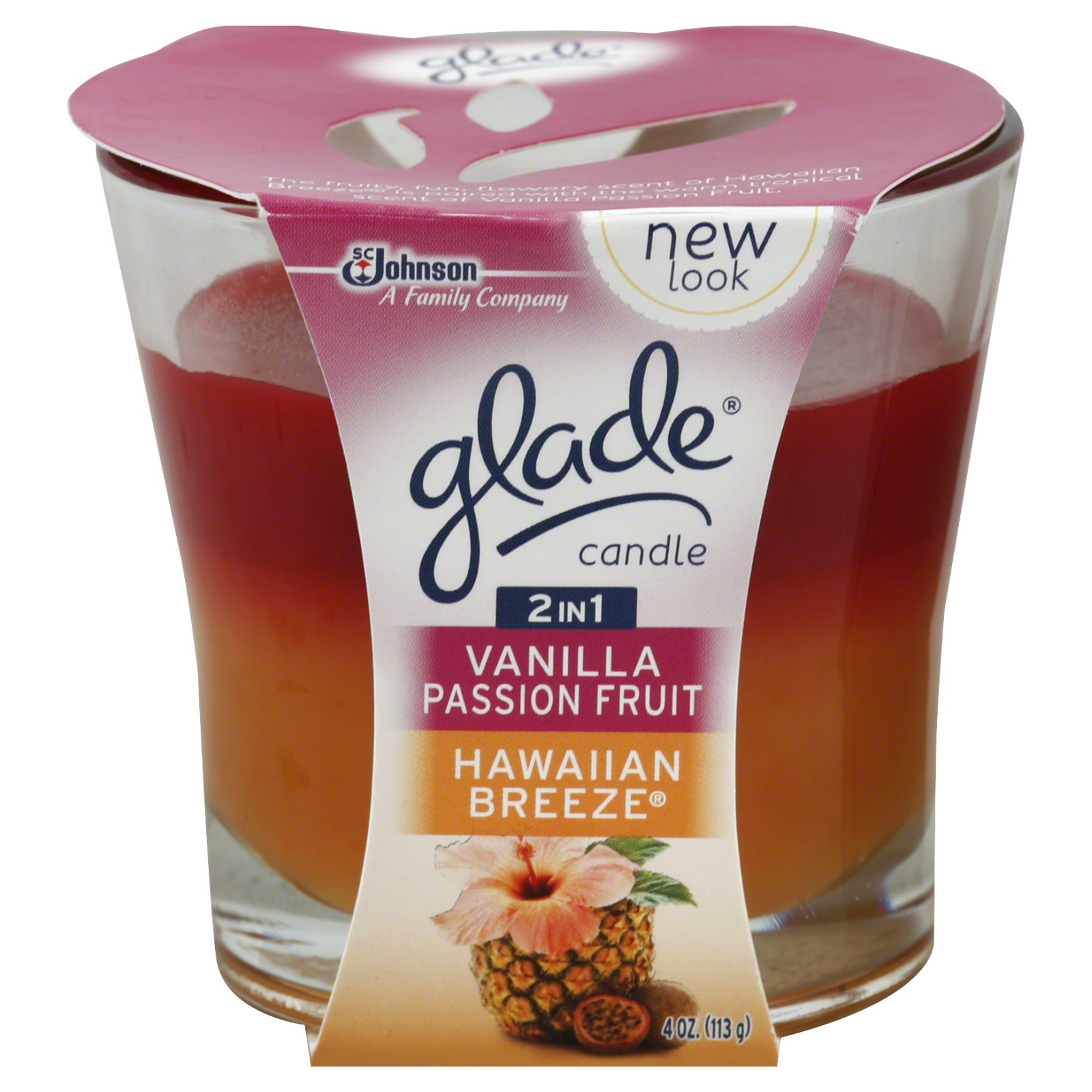 Glade 2 In1 Candle Hawaiian Breeze Vanilla Passion Fruit