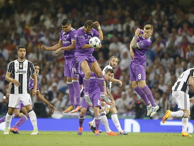 Cristiano Ronaldo blocks a free kick during the Champions League final between Real Madrid and Juventus on June 3, 2017