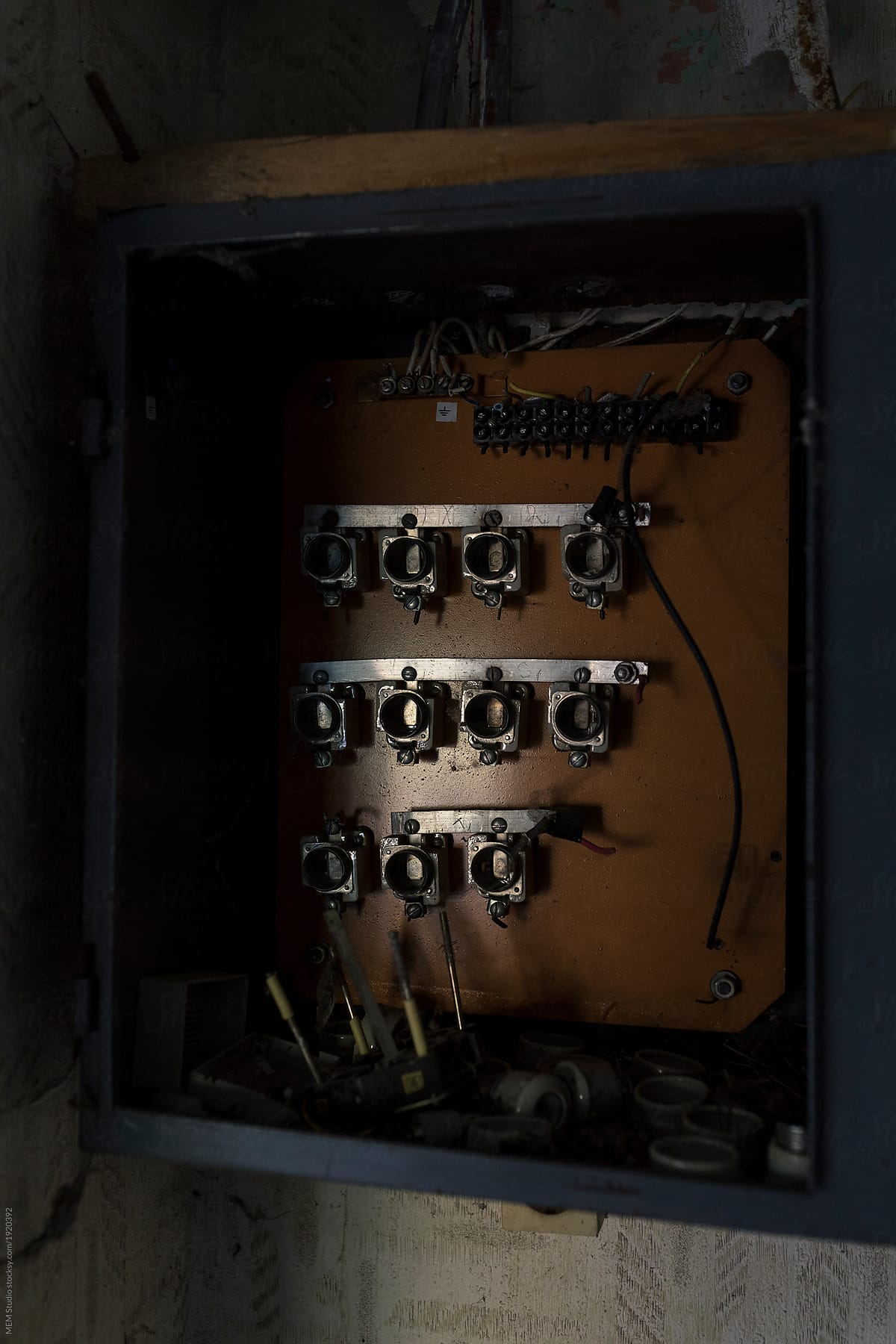 hight resolution of old damaged fuse box by mem studio for stocksy united