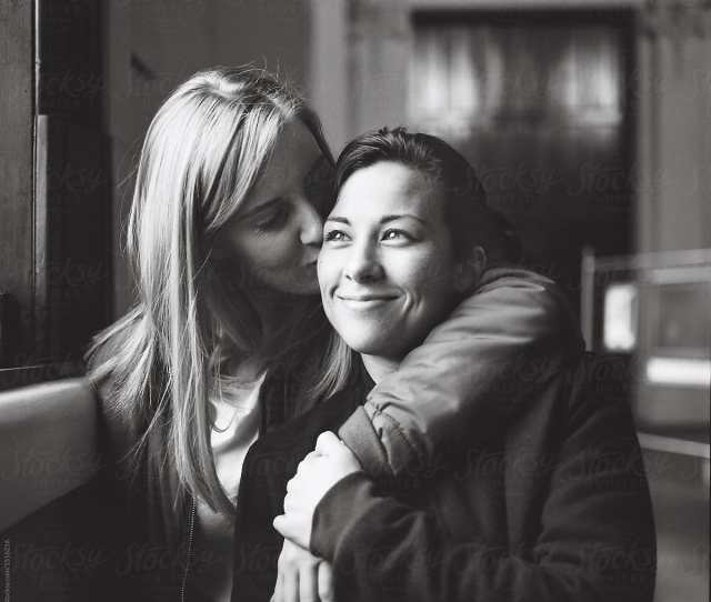 Young Lesbian Couple Embracing By Rowena Naylor For Stocksy United