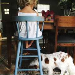 Dog High Chair Lifetime Covers A Child Eats Food In Next To Her Stocksy United