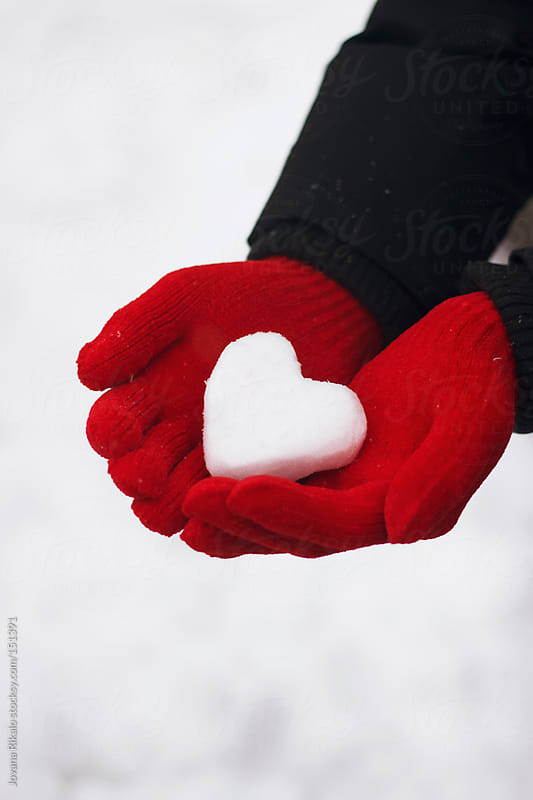 Man Holding Snow Made Heart In His Hands By Jovana Rikalo