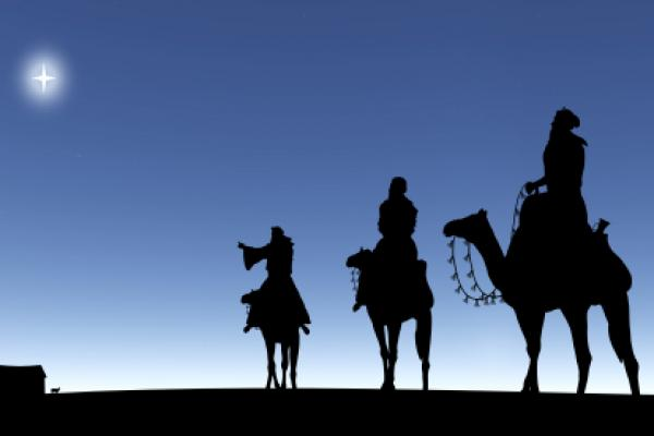 3 Wise men following the star.