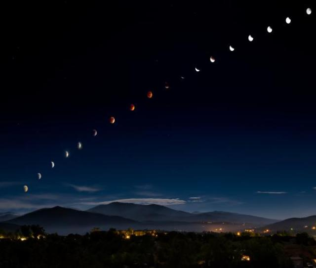 Total Lunar Eclipse Over Santa Fe New Mexico Usa