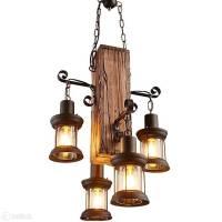 Retro Pendelleuchte Holz Hängende Lampe Vintage in Zug ...