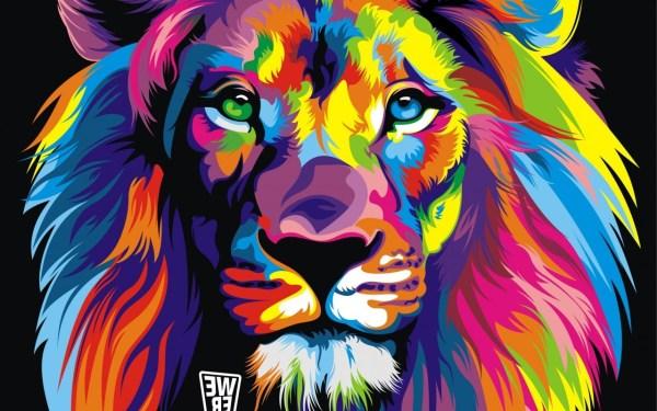 Colorful Abstract Lion Wallpaper Desktop
