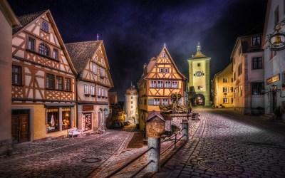 rothenburg medieval germany street hdr lights landscape road urban night wallpapers hd background town desktop backgrounds ages middle px screenshot