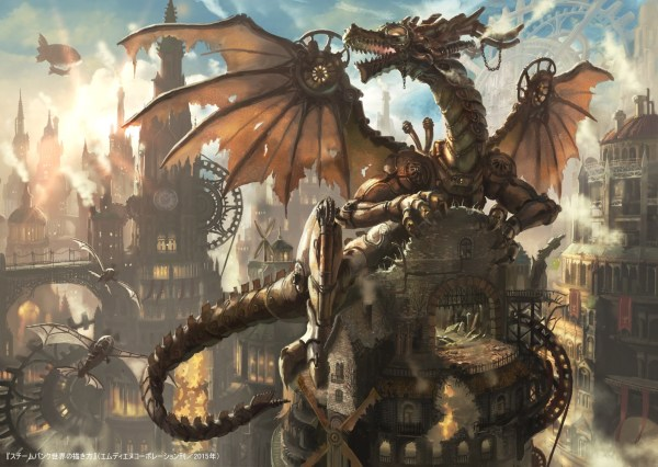 Wallpaper Steampunk Dragon Mythology Clockworks