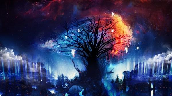 Wallpaper Trees Digital Art Fantasy Artwork Stars Fireworks Fairies Event Special