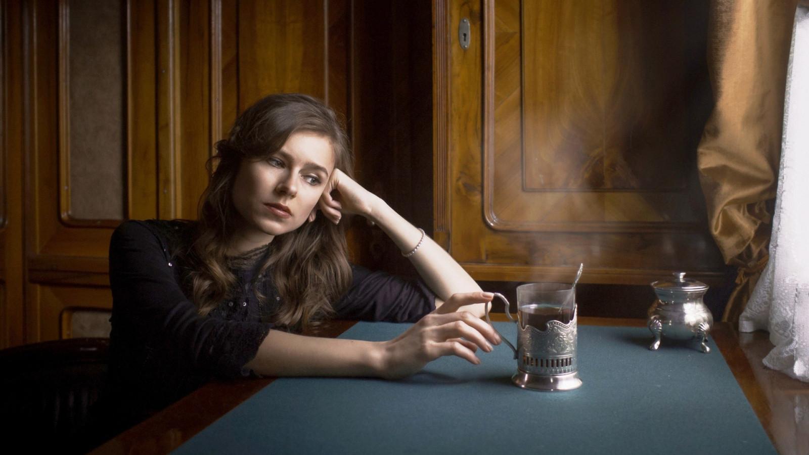 Sad Girl Drinking Wallpaper Wallpaper Women Model Long Hair Black Dress Brunette