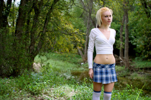 Blonde Girl In The Woods Wallpapers Wallpaper School Woman Sexy Art Stockings Girl
