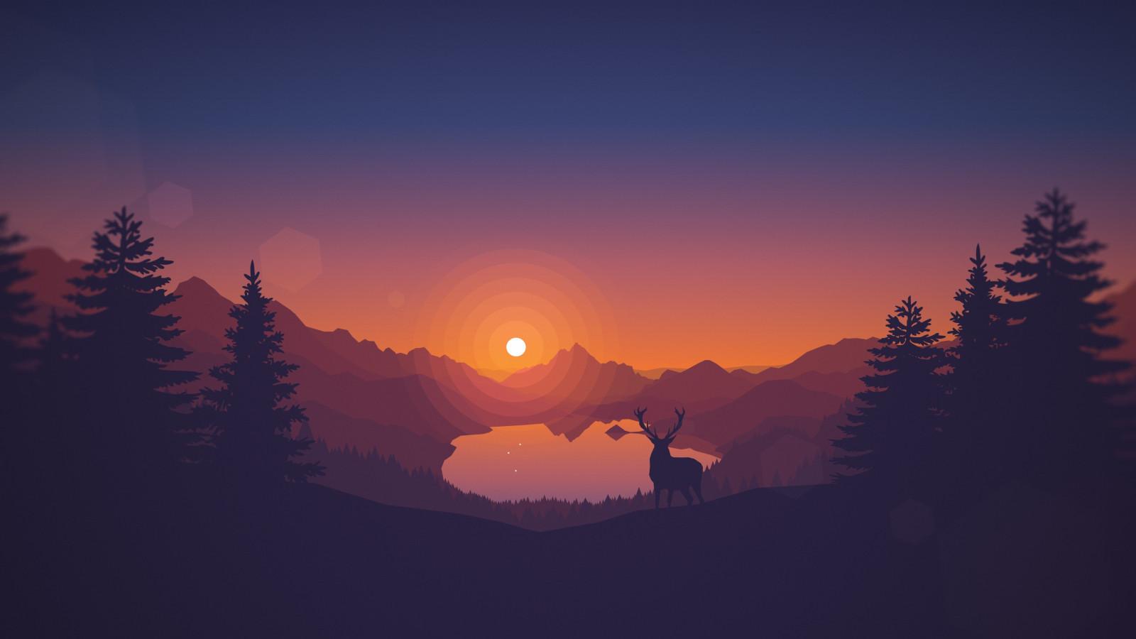 Sfondi  paesaggio disegno cervo arte digitale animali videogiochi tramonto lago natura