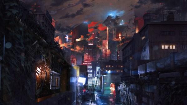 Wallpaper Digital Art City Street Cityscape Night