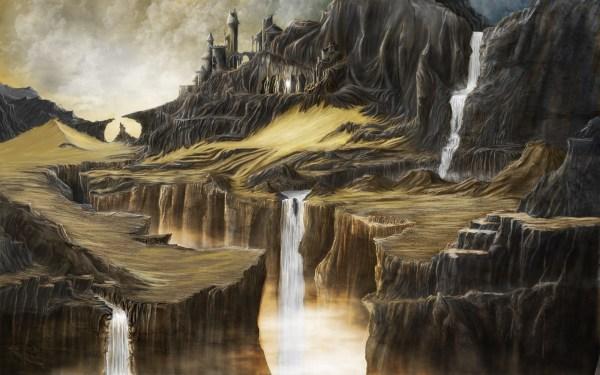 Wallpaper Landscape Painting Waterfall Digital Art Fantasy Hill Rock Nature Sand