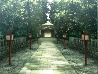 anime temple trees walkway shrine shinto landscape wallpapers nature tree forest path px plant backgrounds desktop hd grass structure leaf