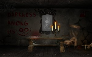 chair dark creepy horror dead daylight table mirror blood background web spider candles wallpapers widow royal wallhaven cc service wallhere