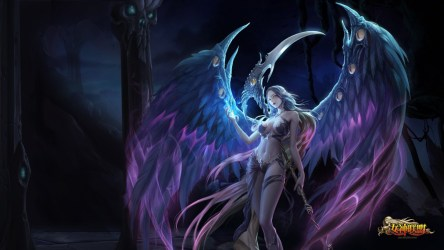 angel angels dark league anime dragon wings boobs darkness demon flames fantasy scythe character fictional screenshot computer wallpapers wallhere hd