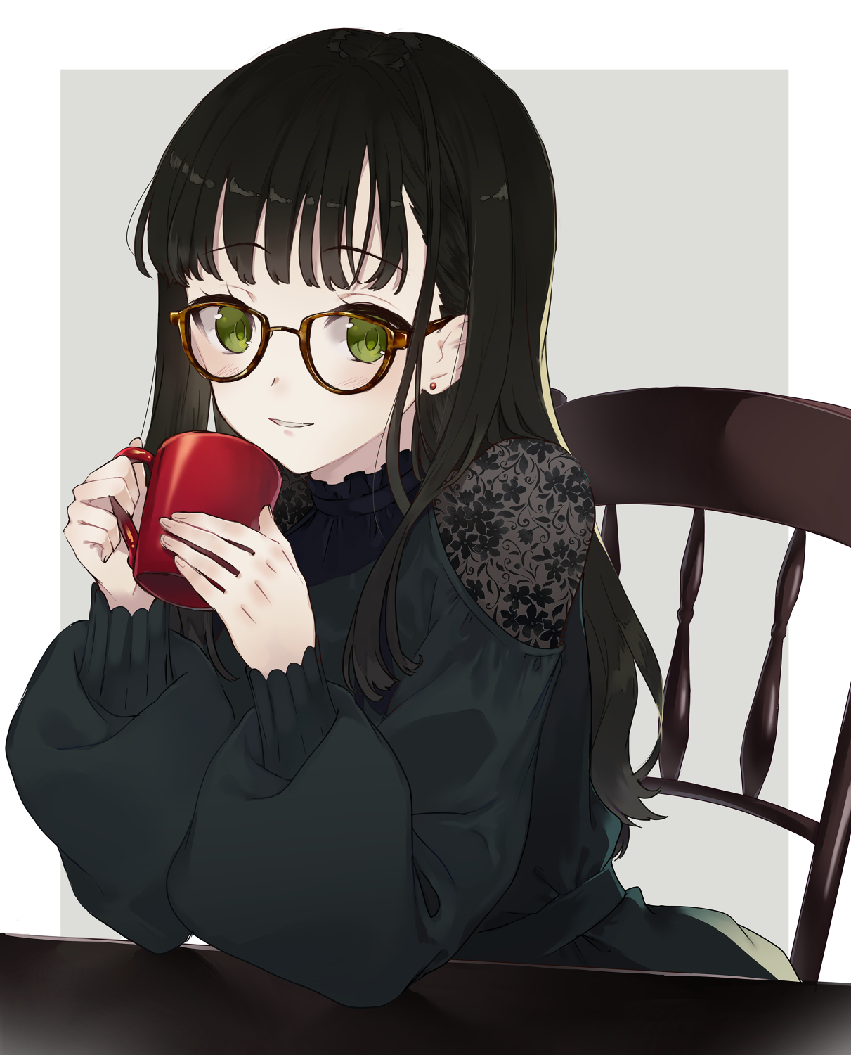 Anime Girl With Black Hair And Glasses : anime, black, glasses, Wallpaper, Anime, Girls,, Simple, Background,, Black, Hair,, Glasses,, Green, Eyes,, Original, Characters, 1211x1500, Richs, 1580451, Wallpapers, WallHere