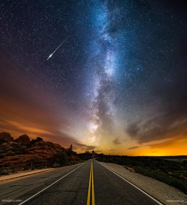Wallpaper Landscape Night Galaxy Sky Road Long Exposure Stars Milky Atmosphere