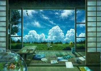 anime landscape window interior nature sky hd computer desktop wallpapers reflection px screenshot jendela pemandangan backgrounds biome condominium dari wallhere