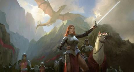 medieval fantasy army sword dragon warrior digital horse armored flag mountains tetero wallhere wallpapers hd