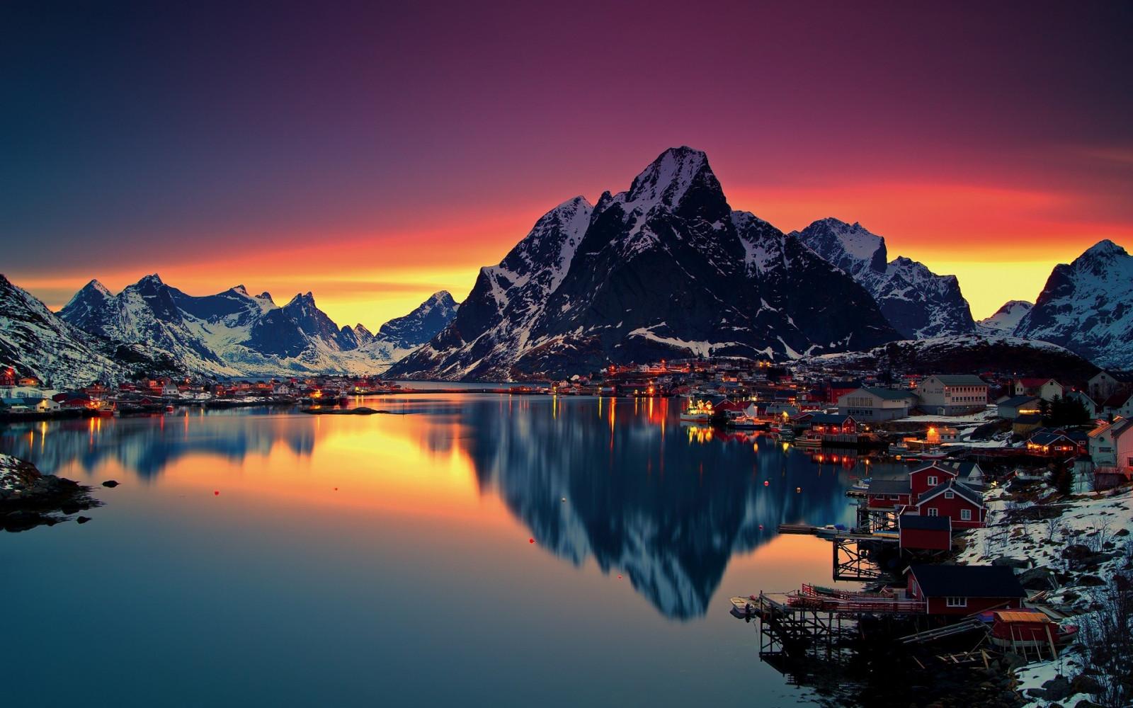 Sfondi  paesaggio montagne tramonto mare lago acqua