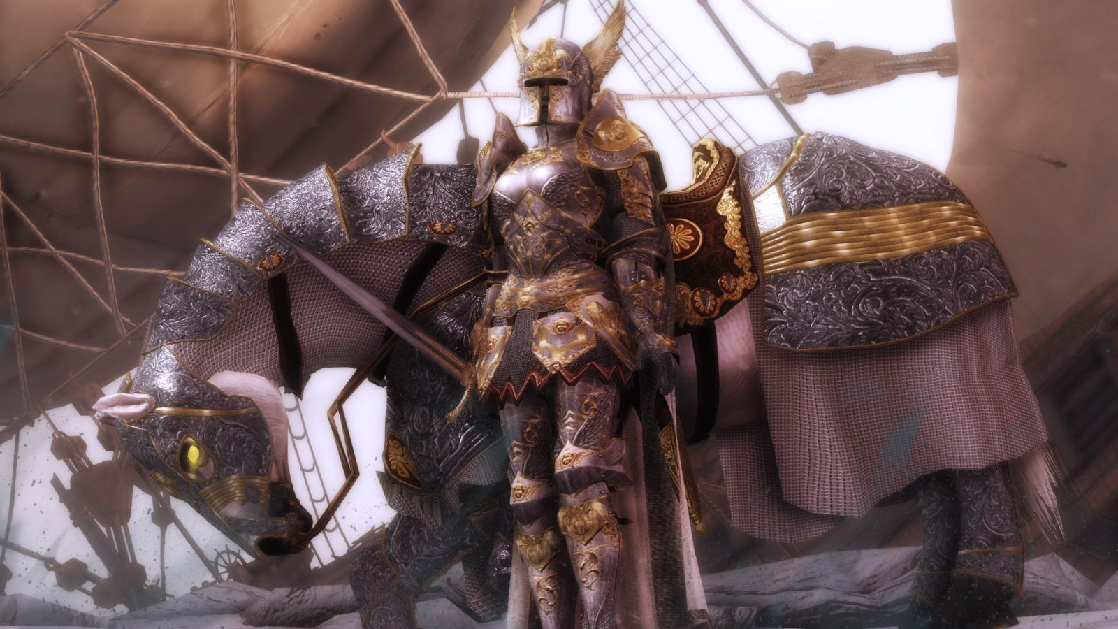 Skyrim Wallpaper Hd 1600x900 Wallpaper Ship Boat Horse Sculpture Statue Paladin