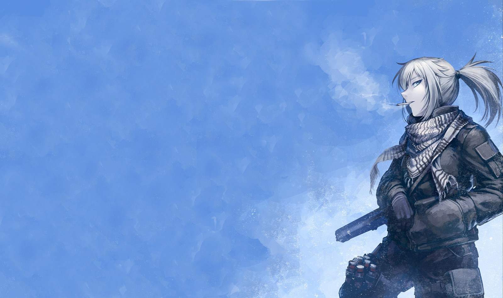 Wolfenstein The New Order Hd Wallpaper Wallpaper Gun Anime Girls Sky Smoking Blue Statue