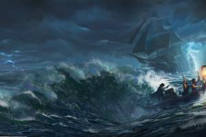 Wallpaper  perahu badai angin bajak laut kapal hantu