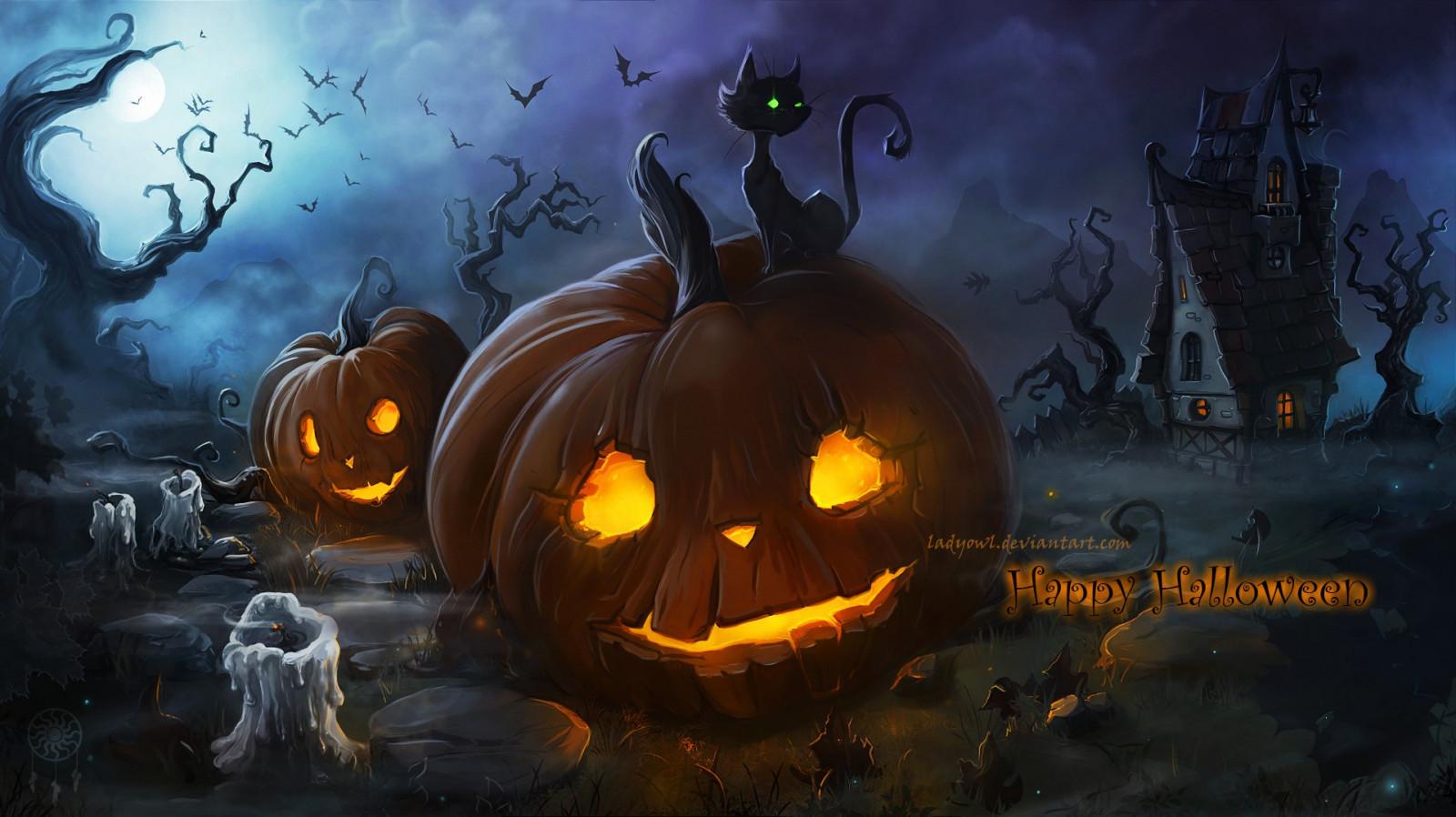 Fall Pumpkin Patch Wallpaper Wallpaper Illustration Cat Fantasy Art Night Spooky