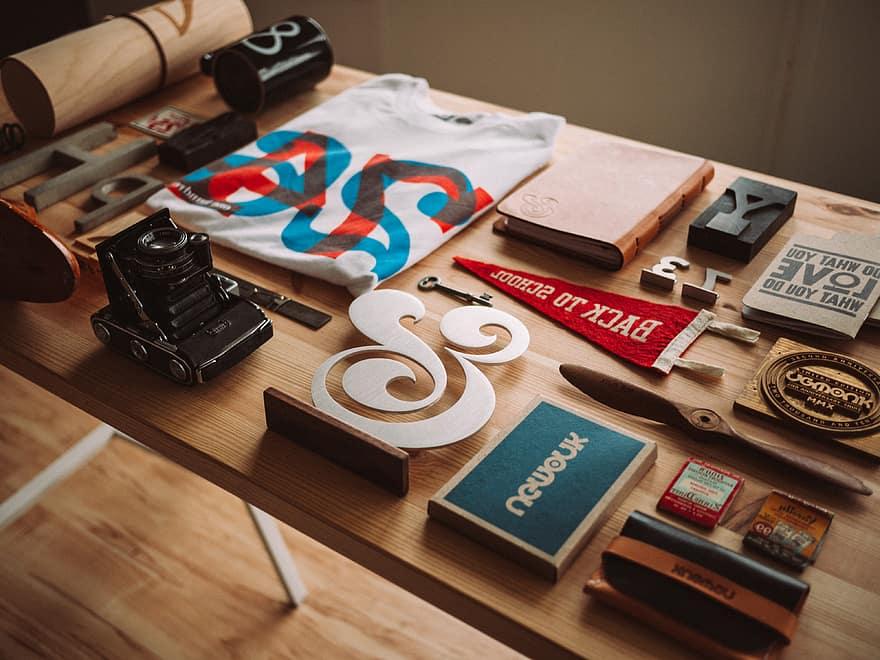 artistic flatlay design table desk