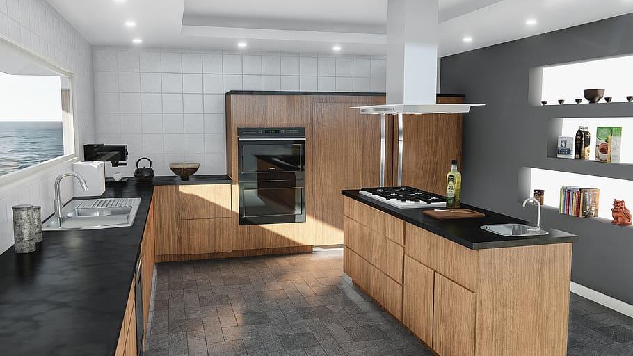Hd Wallpaper Kitchen Design Modern Contemporary Indoors Furniture Room Wallpaper Flare