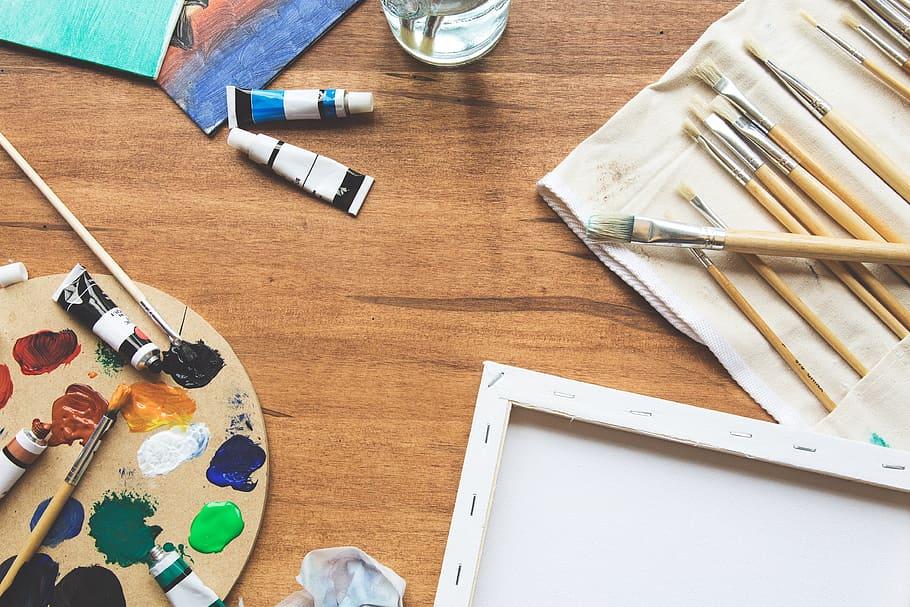 Hd Wallpaper Art Supplies Photo Flatlay Craft Diy School Arts Education Wallpaper Flare
