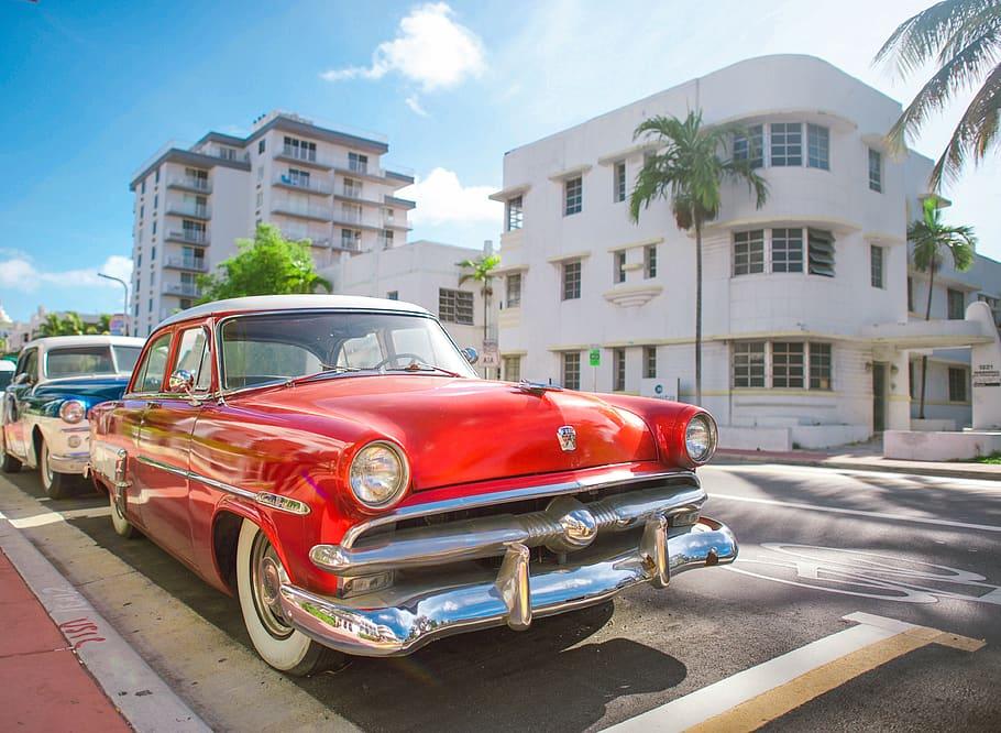 Sizing also makes later remov. Hd Wallpaper Tropical Hot Red Cuba Havana Beach Retro Miami Vintage Car Wallpaper Flare