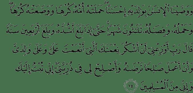 Surat Al-'Aĥqāf 46:15