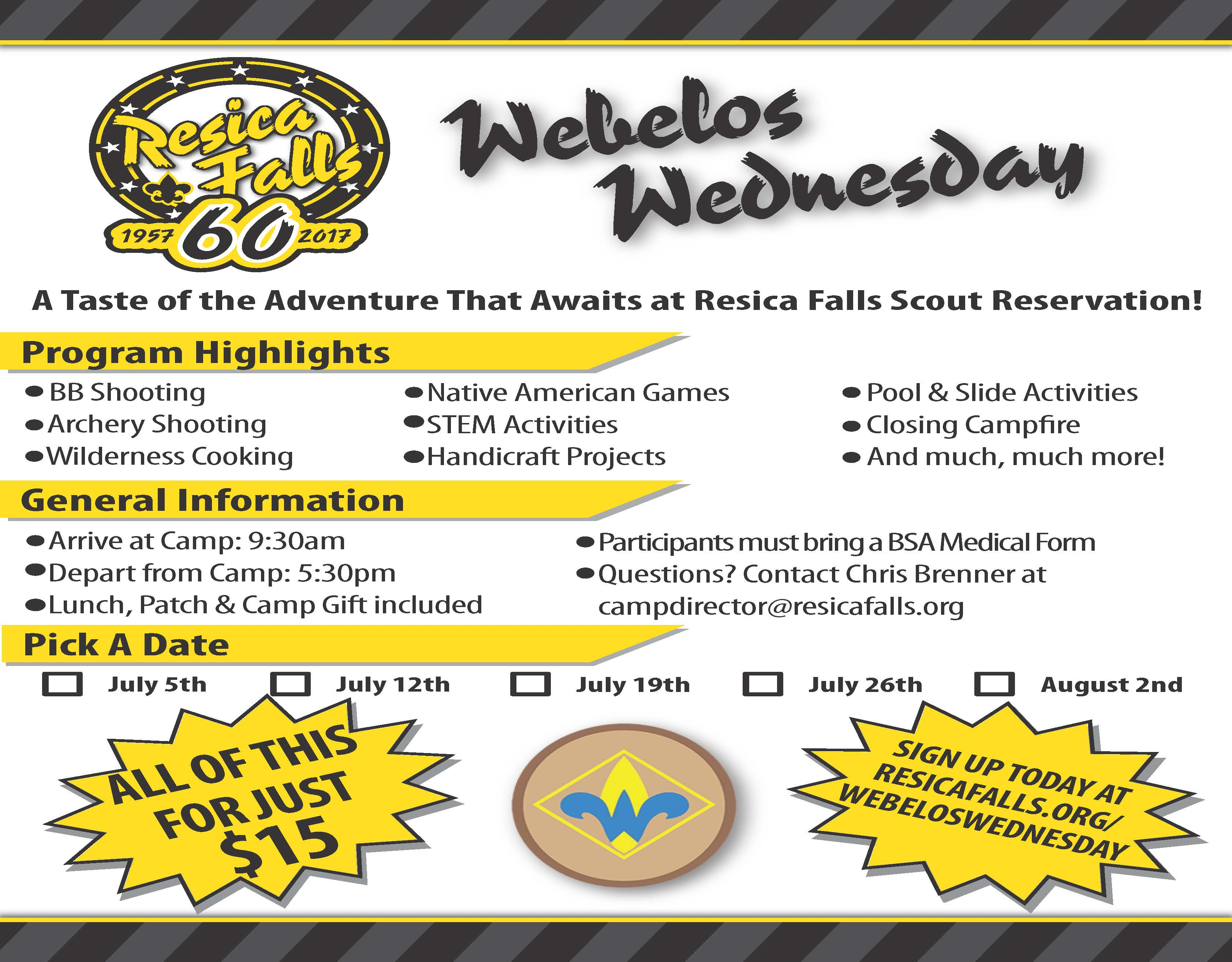 Webelos Wednesday at Resica Falls August 2, 2017