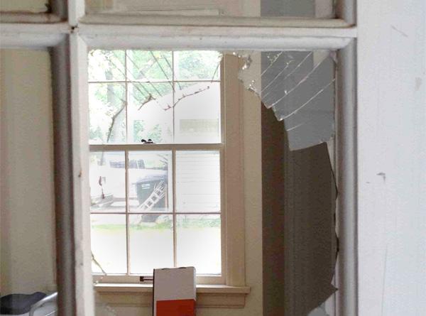 broken pane of windows